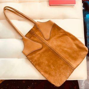 Vintage suede shoulder bag. Golden camel colored